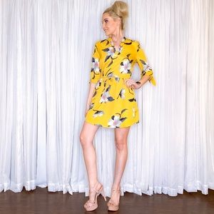 Blush Dresses - Yellow Floral Mini Dress with Sleeves